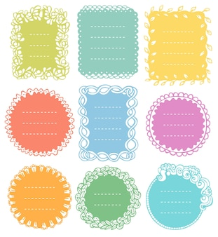 Set of doodle frames for bullet journal notebook diary