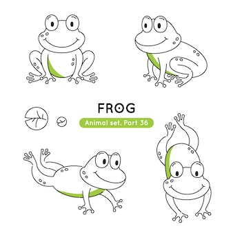 Set of doodle frogs in various poses isolated