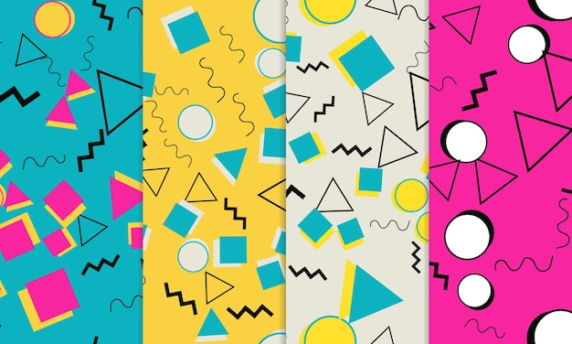 Set of doodle fun seamless patterns. memphis style. colorful funky background.