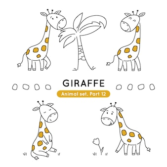 Set of doodle giraffes in various poses isolated