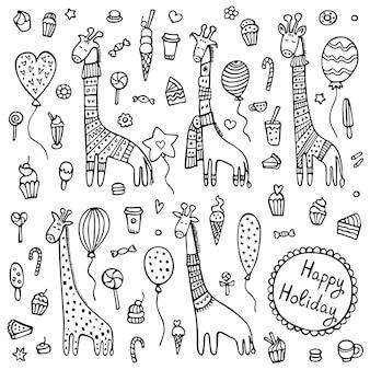 A set of doodle giraffes