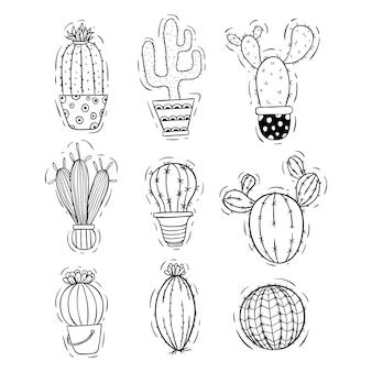 Set of doodle or hand drawn cactus