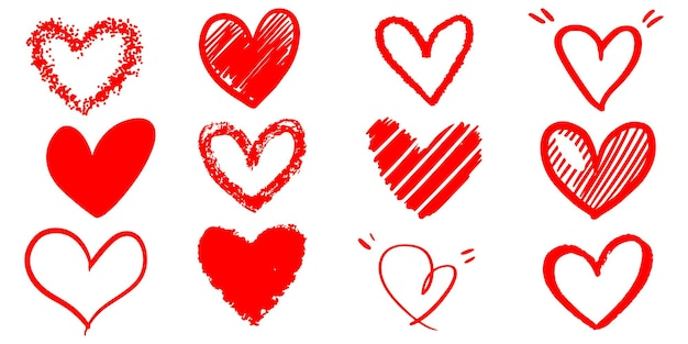 Set of doodle hearts isolated on white background. hand drawn of icon love. vector illustration.
