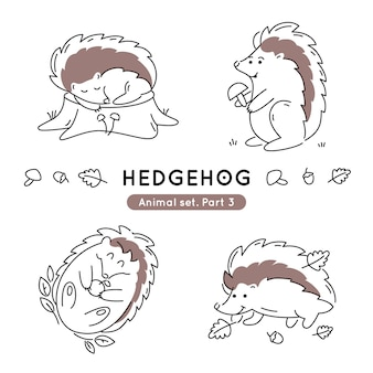 Set of doodle hedgehogs in various poses isolated