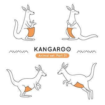 Set of doodle kangaroos in various poses isolated