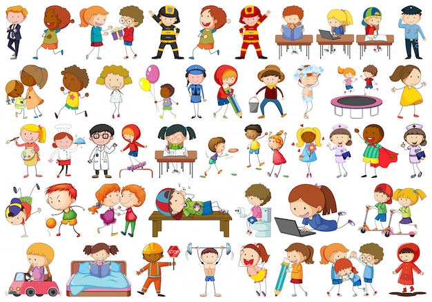 Set of doodle kids character