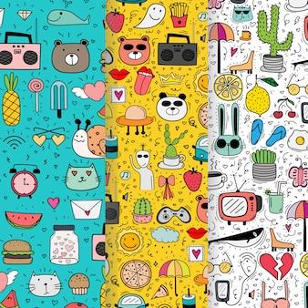 Set of doodle lovely pattern background.