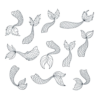 Set of doodle mermaid tail silhouettes.