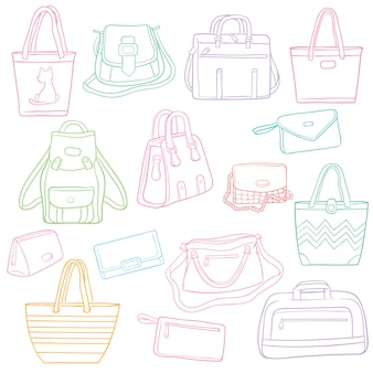 Set of doodle outline fashion bags collection
