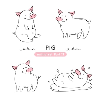 Set of doodle pigs in various poses isolated