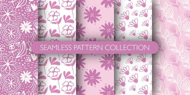 Set of doodle pink outline flower seamless patterns. ditsy floral background. funny floral endless wallpaper.