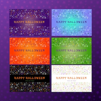 Set of doodle posters and banners for happy halloween concept with hand drawn traditional holiday symbols on colorful backgrounds. vector illustration