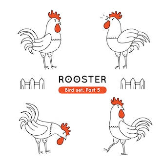 Set of doodle roosters in various poses isolated