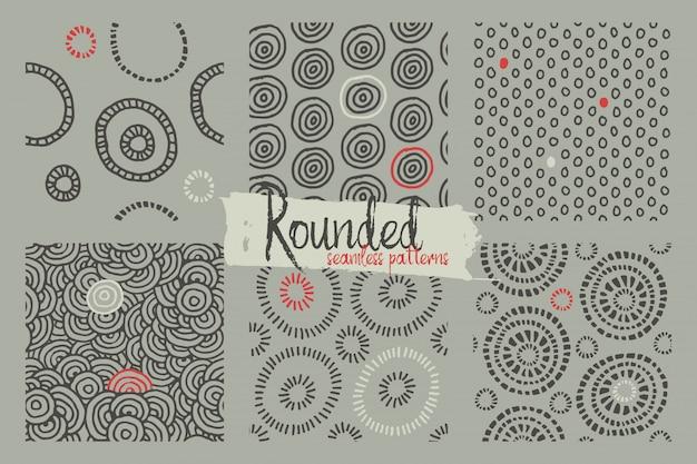 Set of doodle seamless patterns