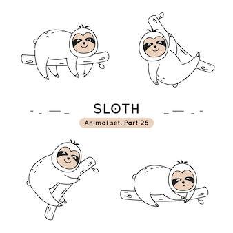 Set of doodle sloths in various poses isolated