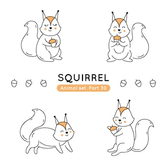Set of doodle squirrels in various poses isolated