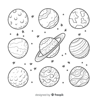 Set of doodle style space stickers
