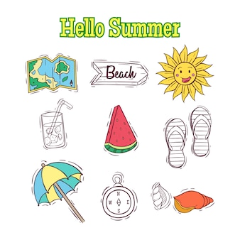 Set of doodle summer elements or elements with hello summer text