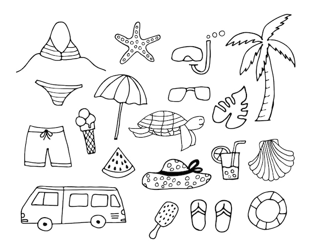 Set of doodle summer icons. hand drawn summer icons collection.