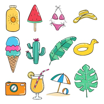 Set of doodle summer icons on white background