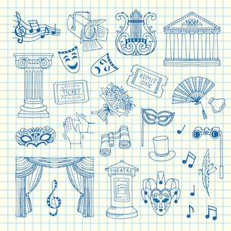 Set of doodle theatre elements on cell sheet illustration