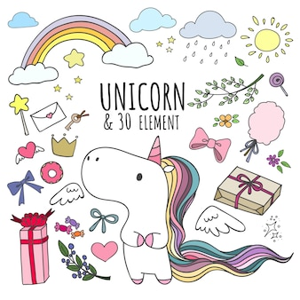 Set of doodle unicorn and 30 elements.