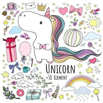 Set of doodle unicorn and 38 elements.