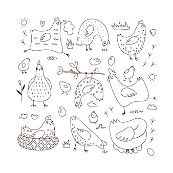 Set of doodle vector illustrations with hens and chicks outline hand drawn coloring page black on wh...