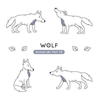 Set of doodle wolves in various poses isolated
