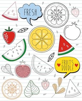 Set doodles watermelon and elements