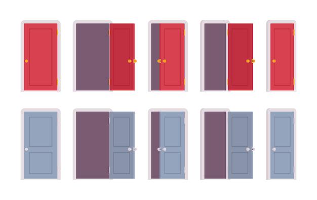 Set of doors in different positions