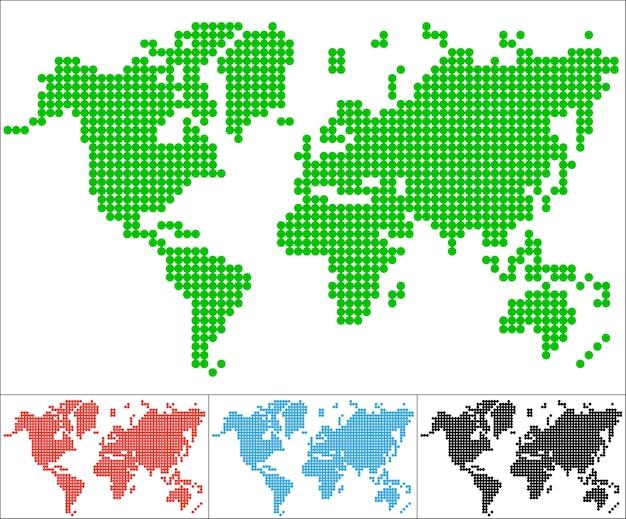 Set of dot world map