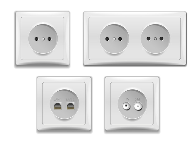Set of  double and single sockets