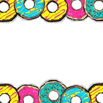 설정 도넛 달콤한 음식 도넛 만화 팝 아트 스타일 벡터 컬러 일러스트 패턴