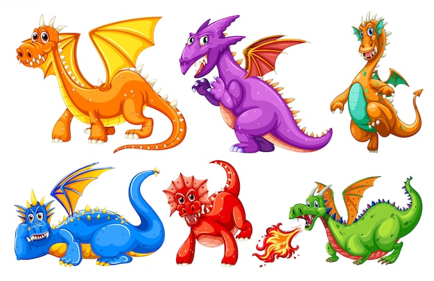 Set of dragon character