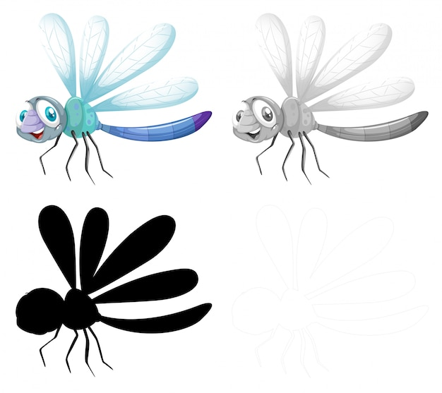 Set of dragonfly character