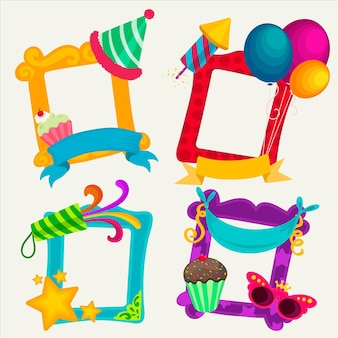 Set of drawn birthday collage frame