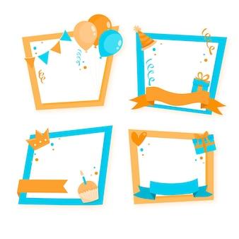 Set of drawn birthday collage frames