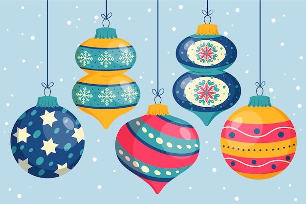 Set of drawn christmas ball ornaments