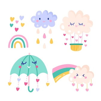 Set of drawn chuva de amor decoration elements