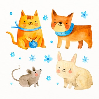 Set of drawn cute pets
