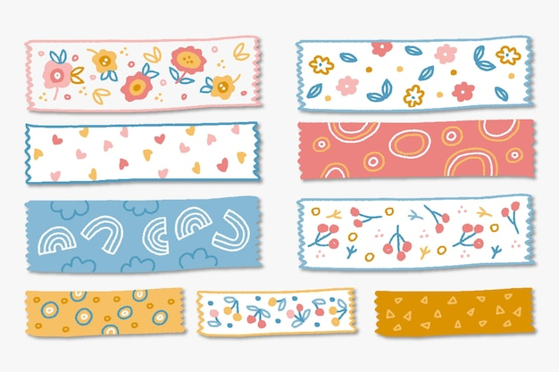 Set of drawn different washi tapes
