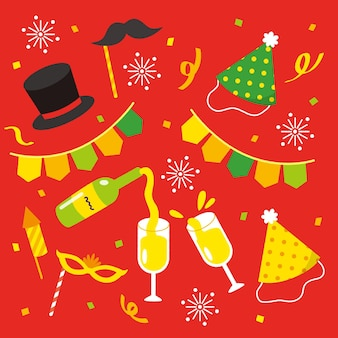 Set of drawn new year party elements