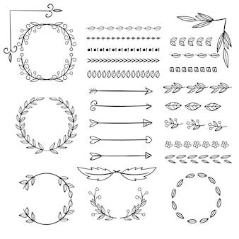 Insieme di elementi ornamentali disegnati