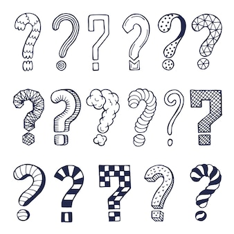 Set of drawn question marks in different styles.  doodles. illustration of question symbol collection
