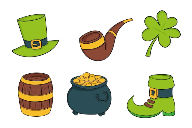Set of drawn st. patrick's day elements
