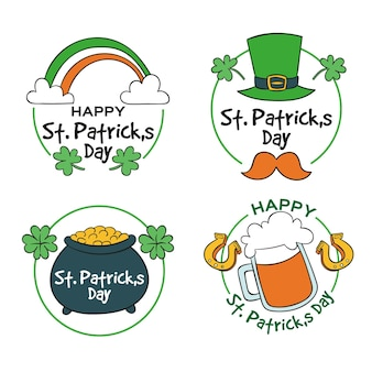Set of drawn st. patrick's day labels