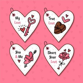 Set di badge di san valentino disegnati