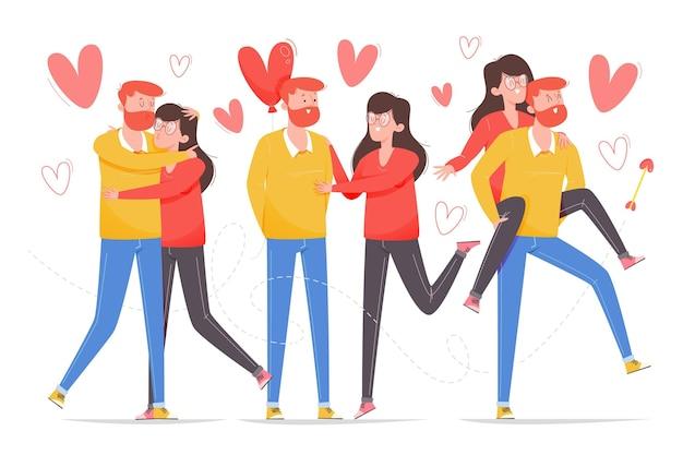 Set di coppie disegnate di san valentino