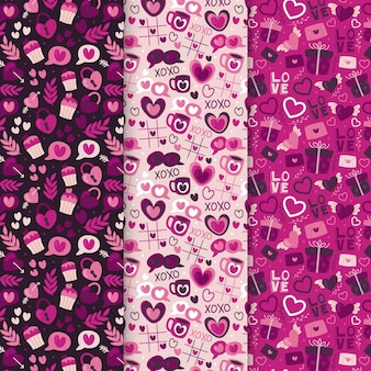 Set of drawn valentine's day patterns